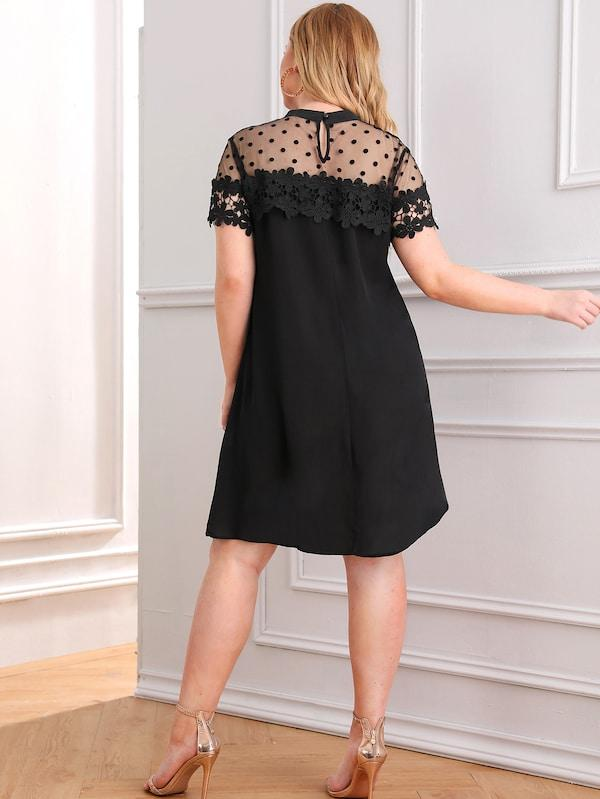 Plus Size Dot Mesh Yoke Guipure Lace Applique Dress