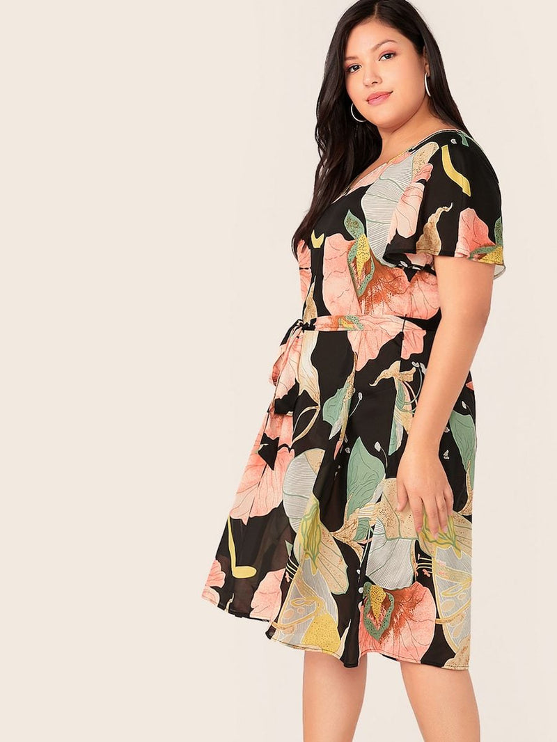 Plus Size Plant Print Flutter Sleeve Belted Midi Dress