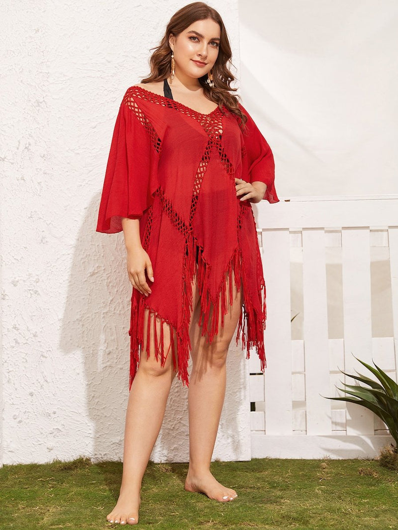 Plus Size Hollow Out Asymmetrical Hem Cover Up