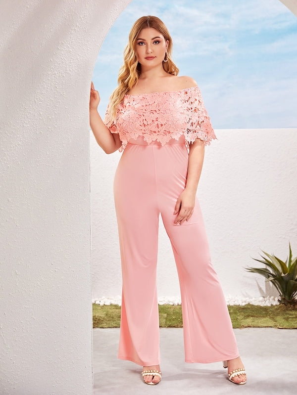 Plus Size Contrast Lace Off The Shoulder Jumpsuit