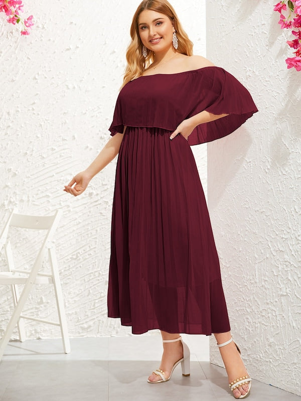 Plus Size Solid Ruffle Trim Off Shoulder Dress
