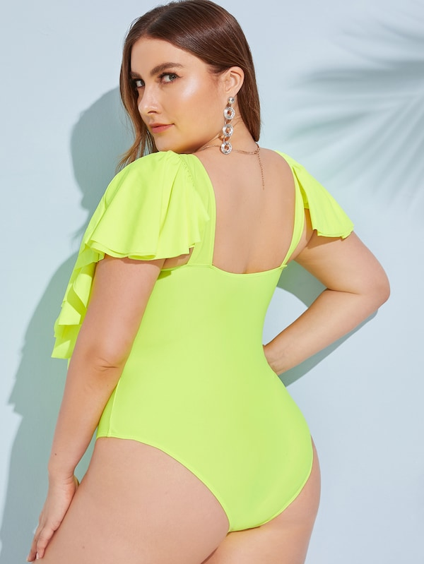 Plus Size Neon Lime Ruffle Trim One Piece Swimwear