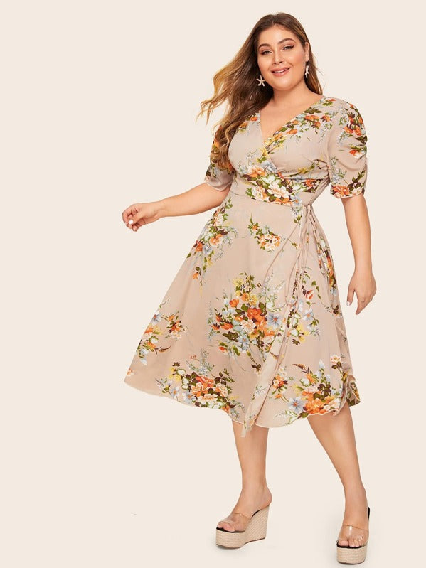 Plus Size Floral Print Wrap Knotted Dress