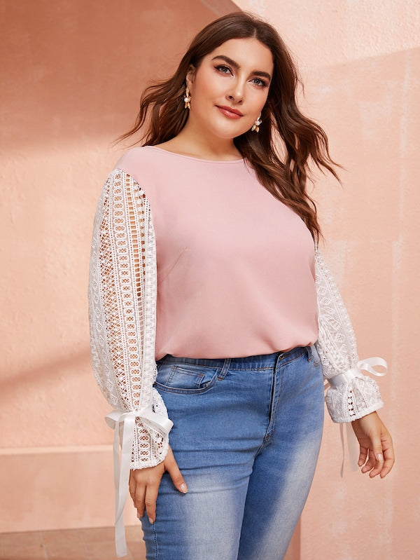 Plus Size Two Tone Guipure Lace Sleeve Top