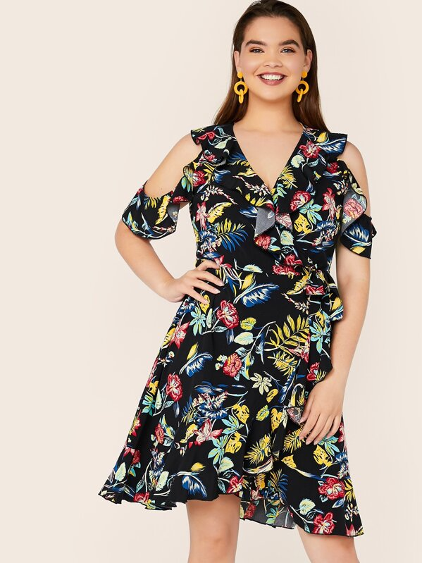 Plus Size Floral Cold Shoulder Ruffle Wrap Knotted Dress