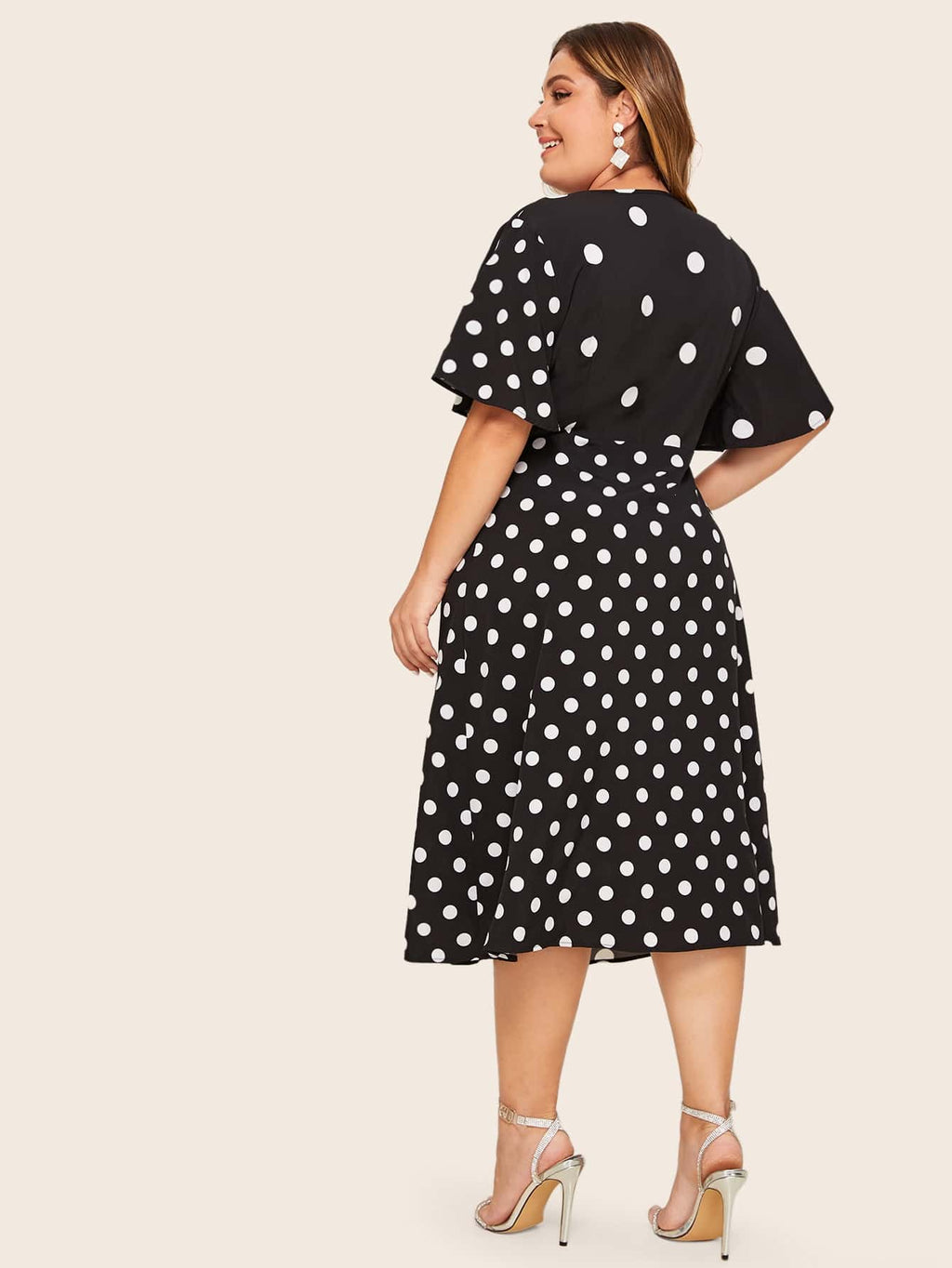 Plus Size Adorable Deep V-Neck Polka Dot Twist Dress