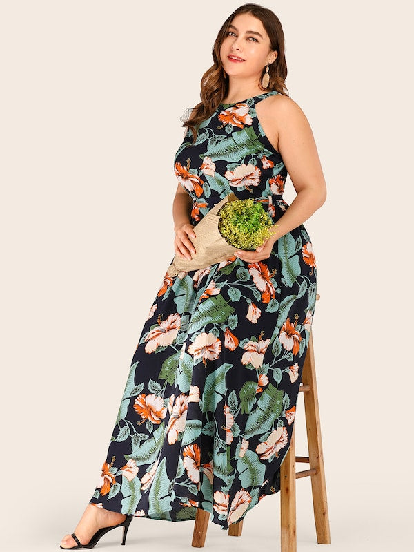 Plus Size Floral Print Halter Belted Dress