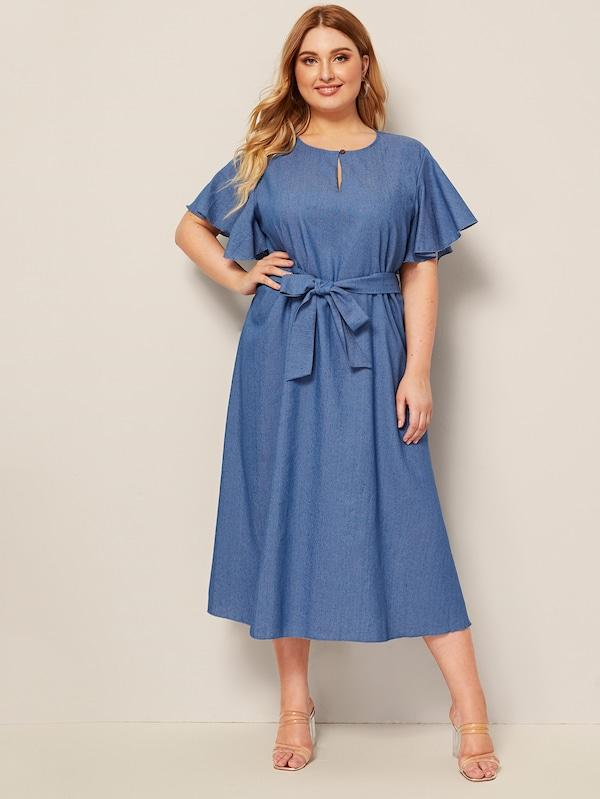 Plus Size Butterfly Sleeve Button Keyhole Belted Denim Dress