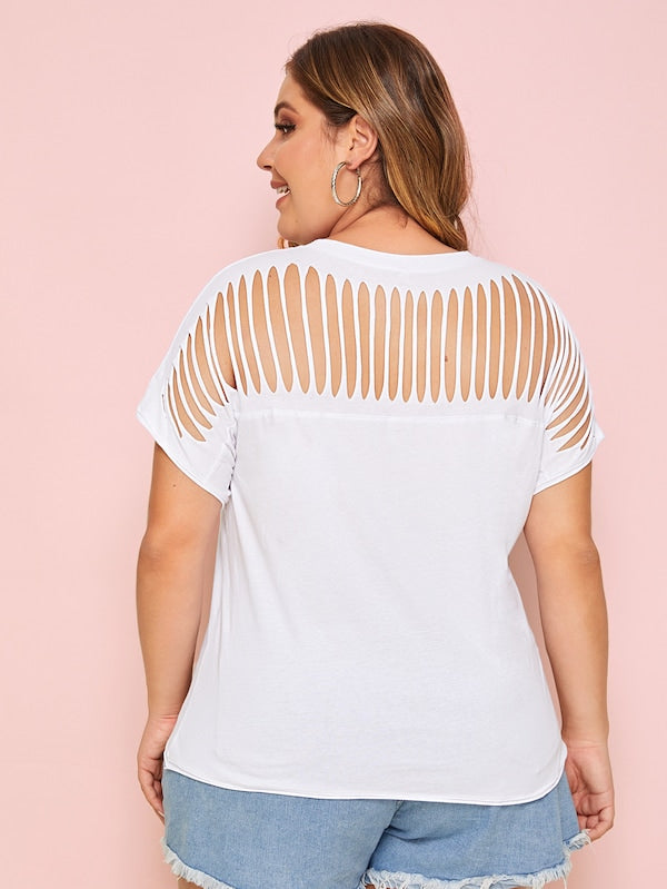 Plus Size Cut Out Solid Tee