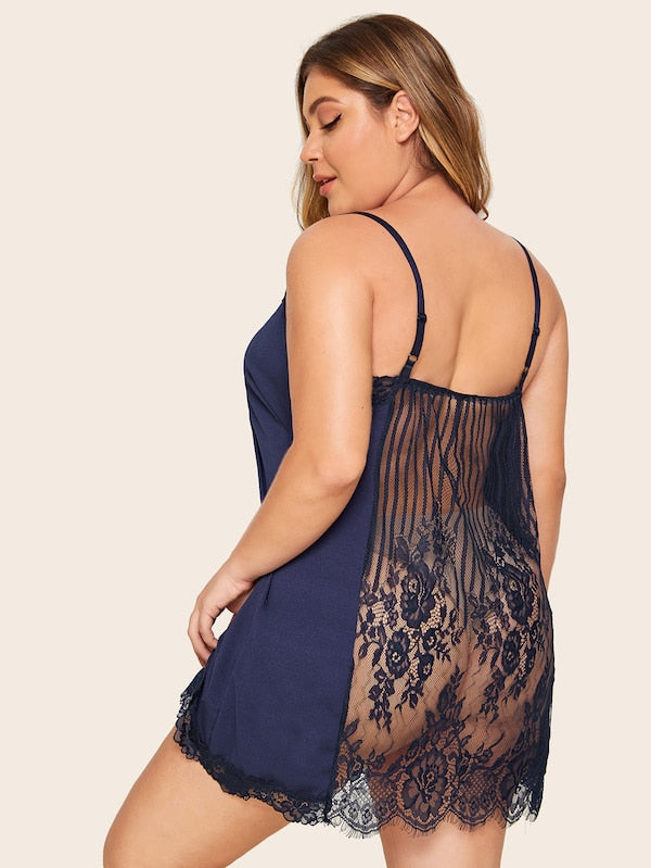 Plus Size Contrast Lace Cami Dress
