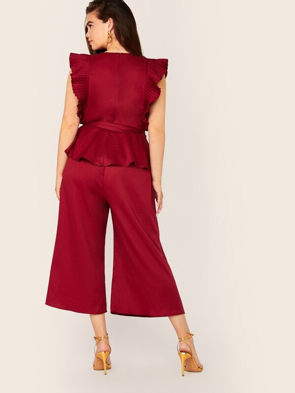Plus Size Pleated Ruffle Armhole Belted Top & Pants Set