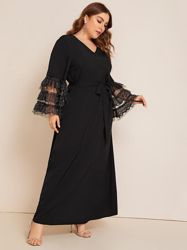 Plus Size Lace And Mesh Layered Cuff Belted Dress