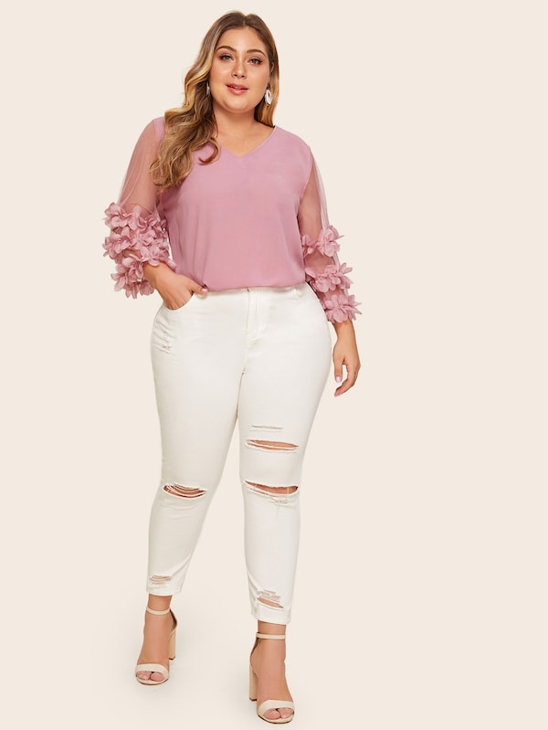 Plus Size V-Neck Contrast Mesh Sheer Applique Blouse