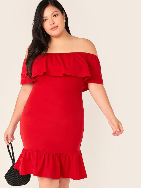 Plus Size Ruffle Trim Bardot Bodycon Dress