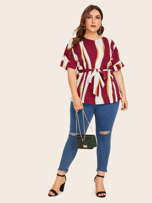 Plus Size Striped Print Roll Up Sleeve Belted Blouse