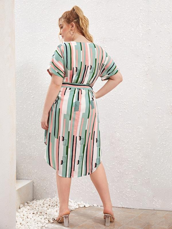 Plus Size Striped Belted Split Curved Hem Dress