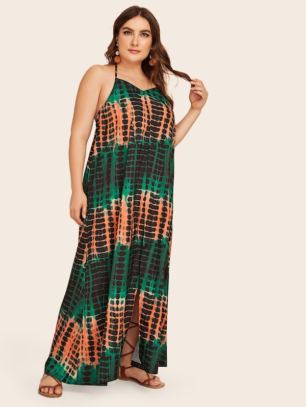 Plus Size Tie Dye Split Maxi Backless Dress