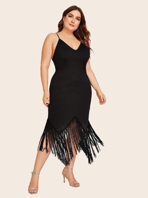 Plus Size Contrast Fringe Asymmetrical Hem Slim Cami Dress