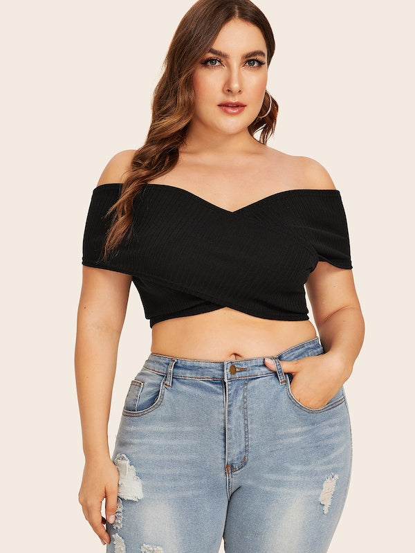 Plus Size Surplice Solid Tube Top