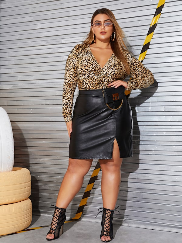 Plus Size Split Side PU Skirt