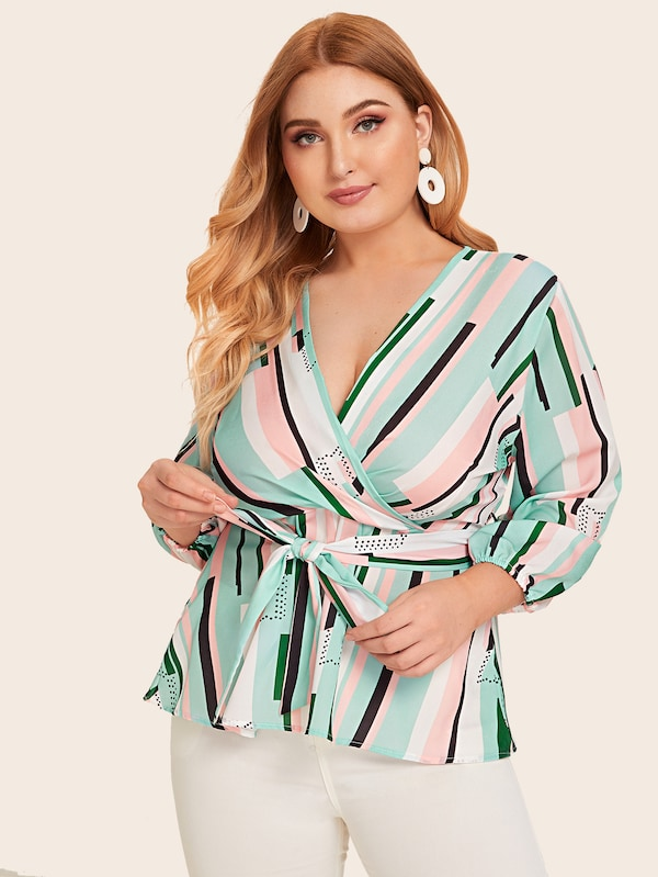 Plus Size Colorful Geometric Surplice Front Belted Blouse