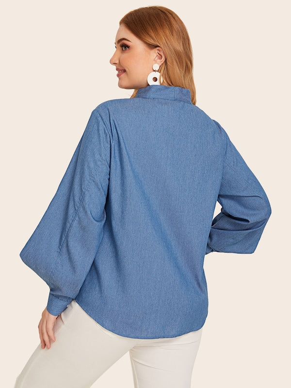 Plus Size Button Front Tie Neck Denim Top