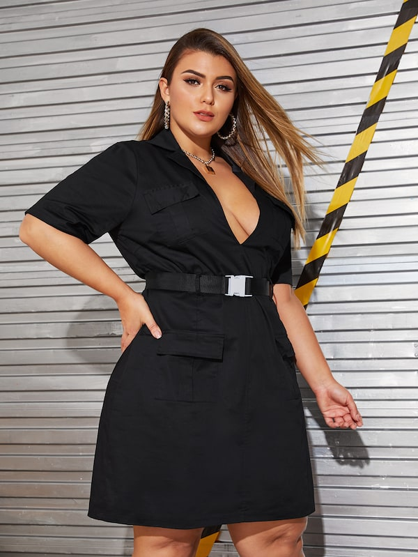 Plus Size Pocket Front Deep V-Neck Buckle Belted Dress