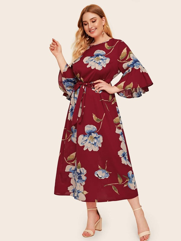 Plus Size Bell Sleeve Botanical Print Belted Dress