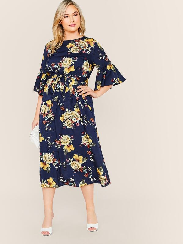 Plus Size Flounce Sleeve Self Belted Floral Print Dress