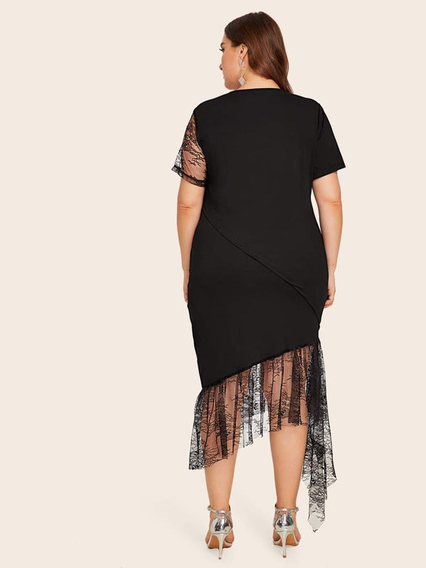 Plus Size Contrast Lace Asymmetrical Hem Dress