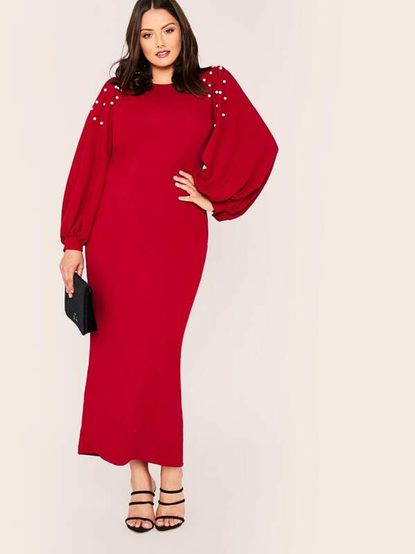 Plus Size Pearl Embellished Bishop Sleeve Pencil Dress