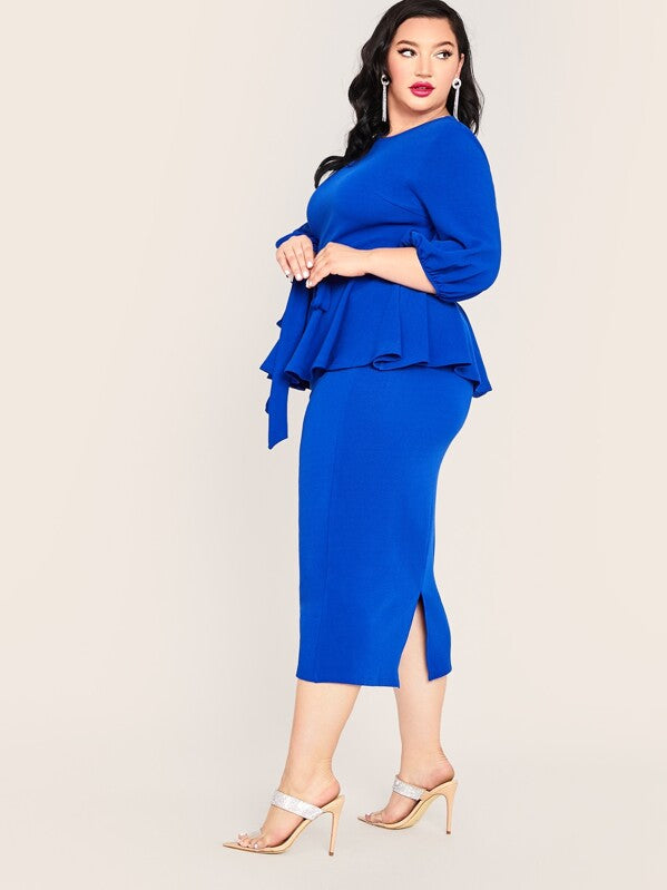 Plus Size Belted Peplum Top & Split Pencil Skirt Set