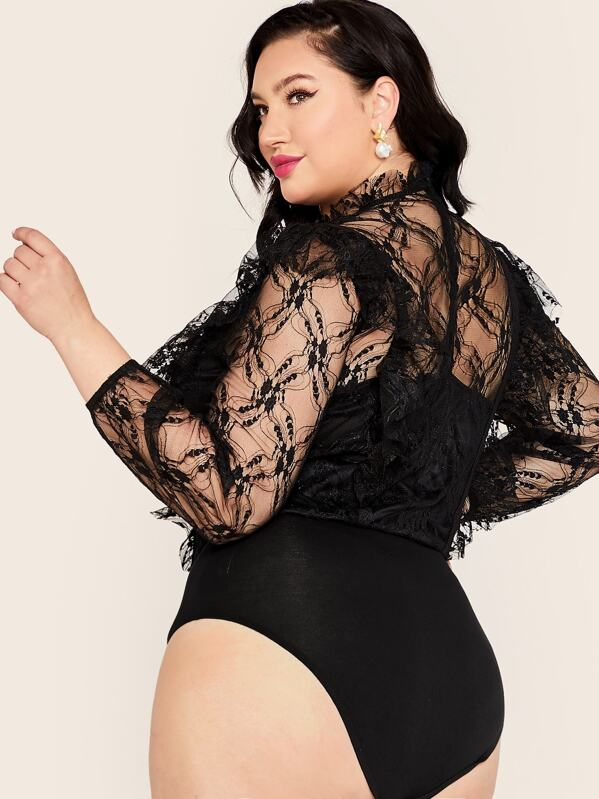 Plus Size Mock Neck Lace Overlay Bodysuit