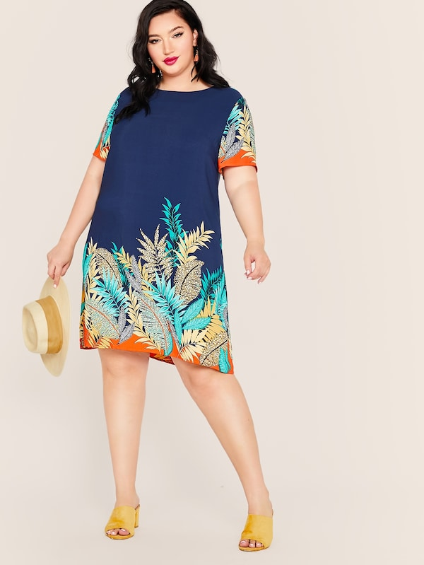 Plus Size Summer Tropic Tunic Dress