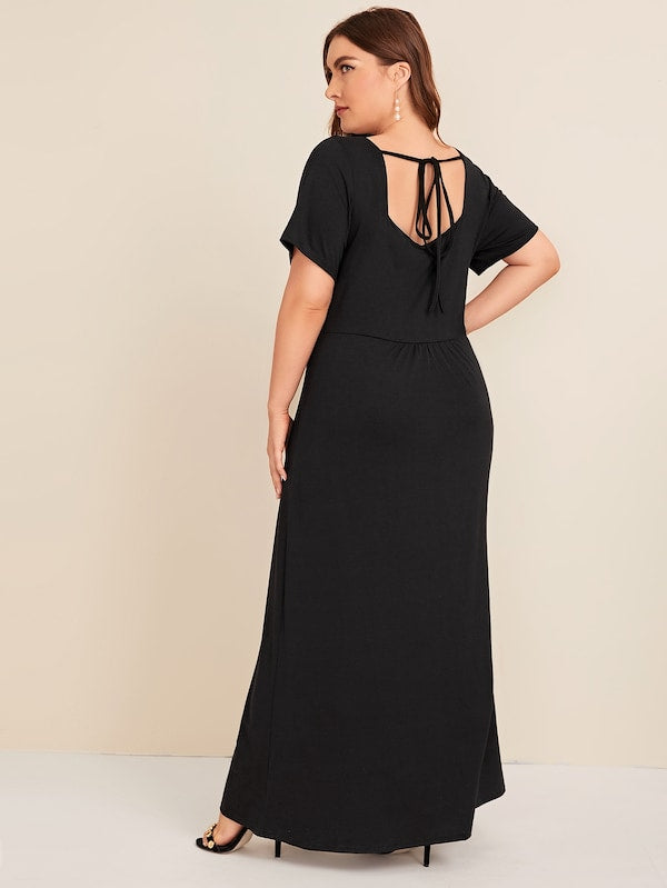 Plus Size Criss Cross Tie Back Maxi Dress