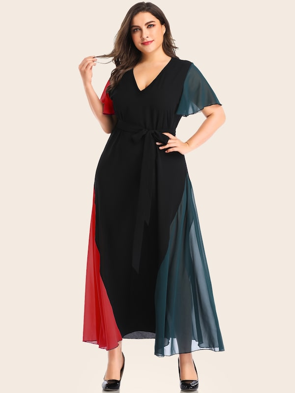 Plus Size Belted Cut And Sew Dress