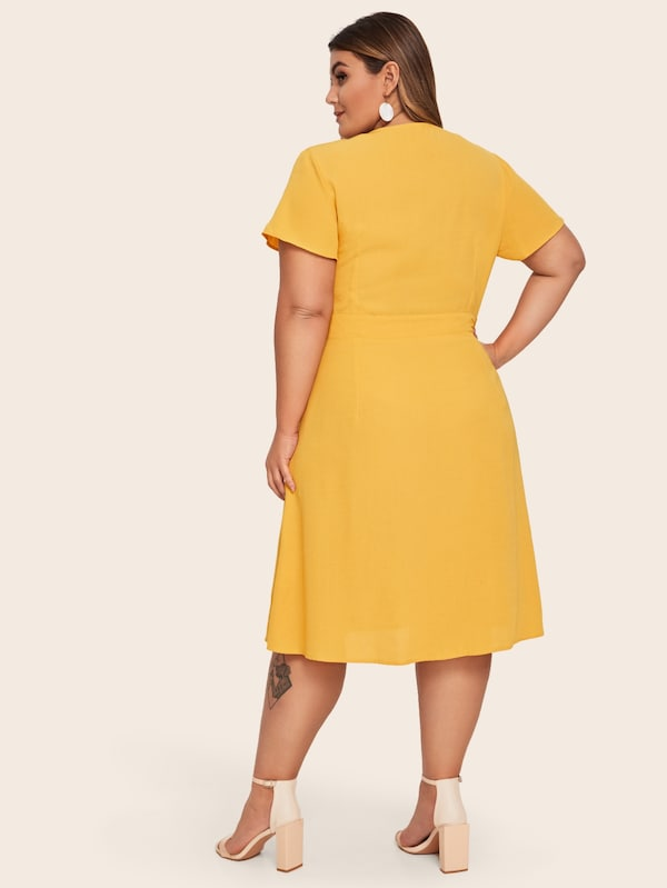 Plus Size Surplice V-Neck Button Front Dress
