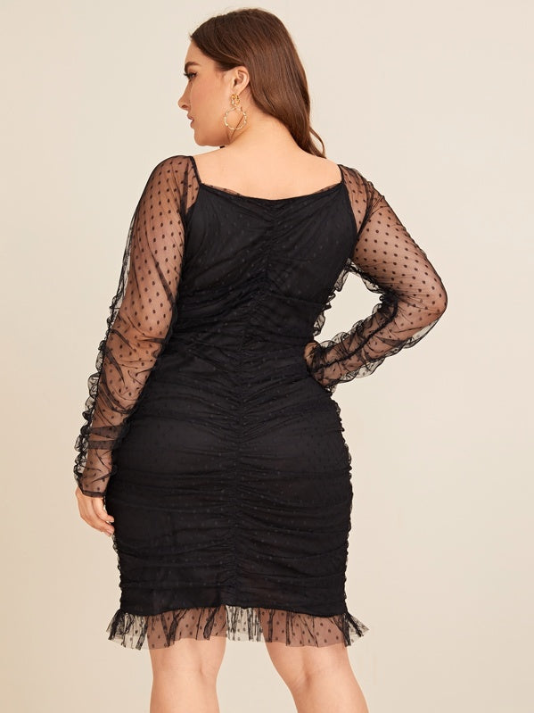 Plus Size Contrast Mesh Ruched Scoop Neck Dress
