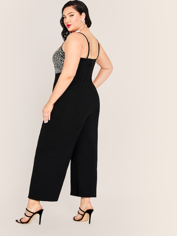 Plus Size Sequin Bodice Wide Leg Jumpsuit