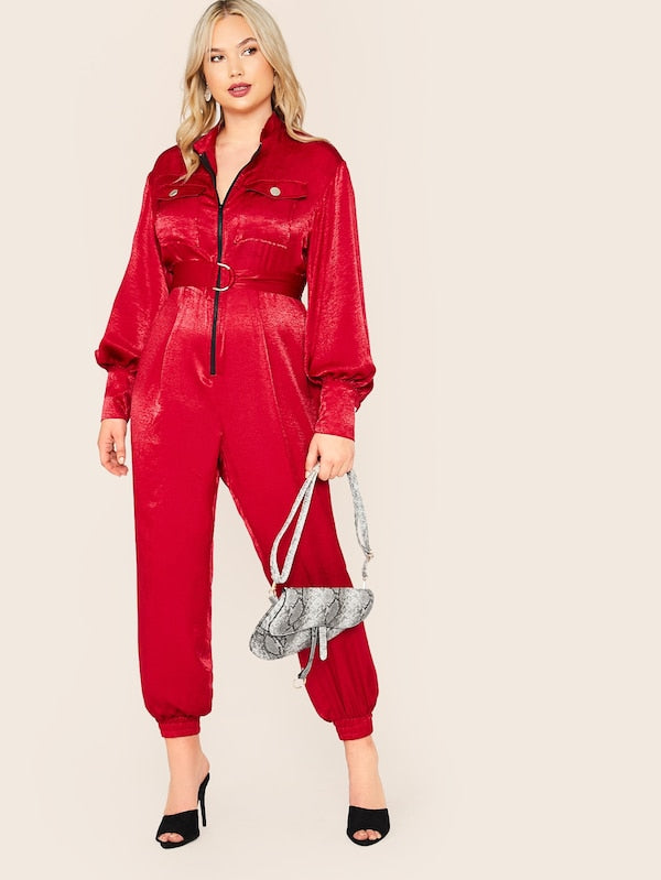 Plus Size Zipper Front Flap Pocket Satin Jumpsuit With D-Ring Belt
