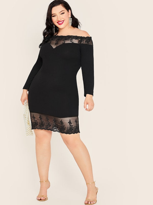 Plus Size Embroidered Mesh Panel Off Shoulder Pencil Dress
