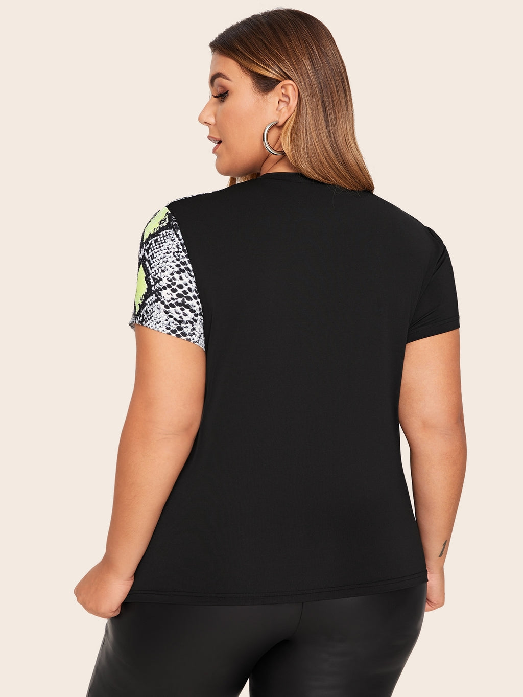 Plus Size Fun Contrast Snakeskin Print Top