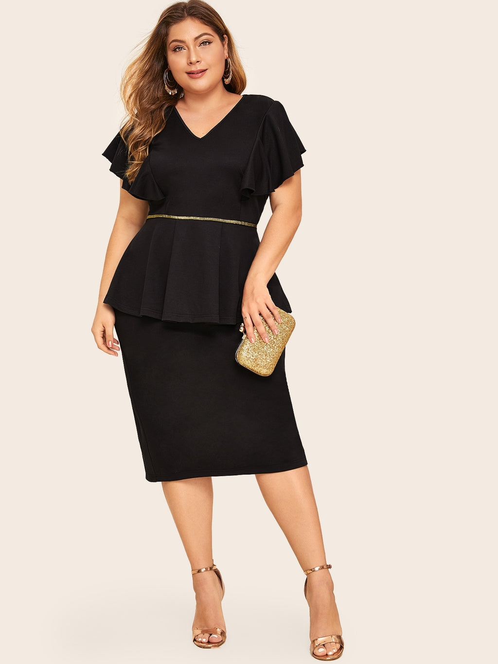 Plus Size Ruffle Cuff Slit Back Sheath Dress