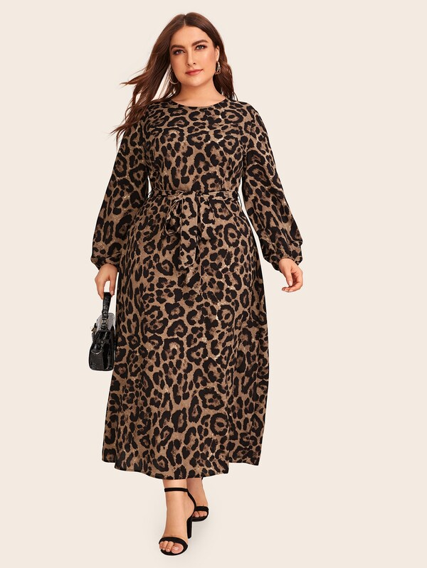 Plus Size Leopard Zip Back Belted Dress