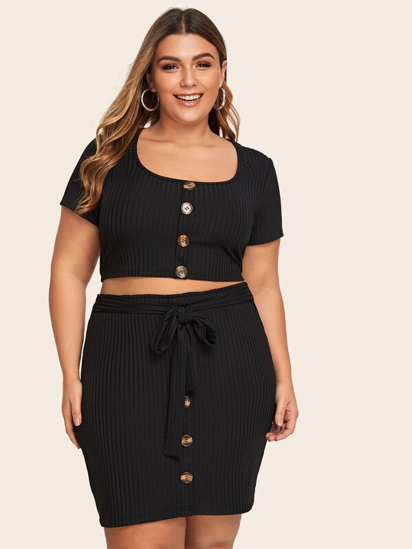 Plus Size Button Through Tee & Drawstring Ribbed Skirt
