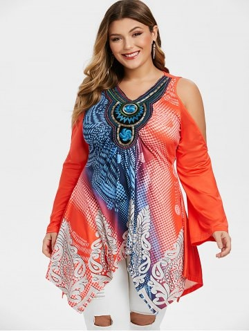 Handkerchief Embroidered Printed Cold Shoulder Plus Size Top
