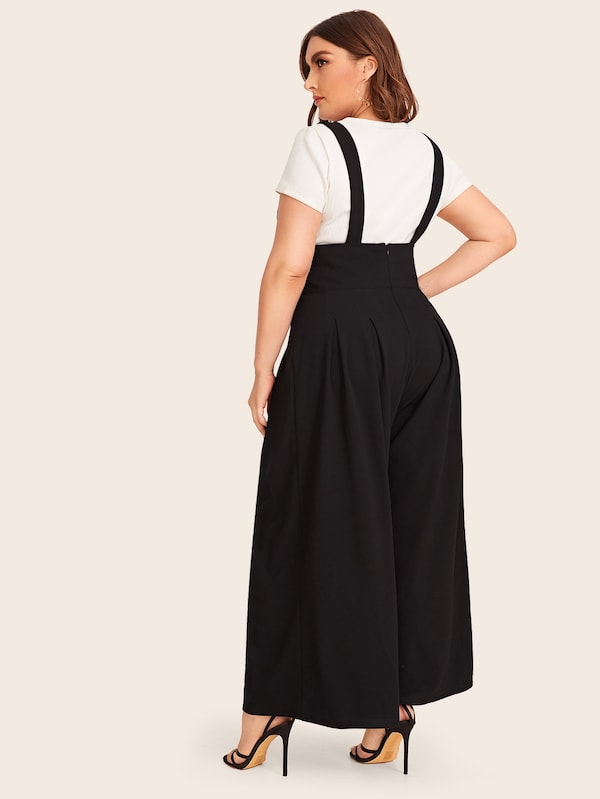 Plus Size Solid Zip Back Wide Leg Pinafore Pants