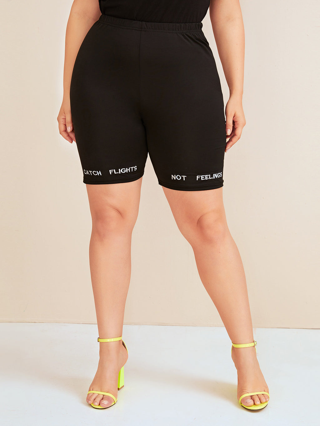 Plus Size Letter Embroidery Biker Shorts