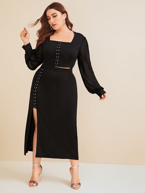 Plus Size Mesh Sleeve Grommet Ring Top & Skirt Set