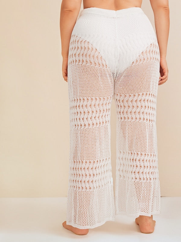 Plus Size Hollow Out Crochet Drawstring Waist Pants